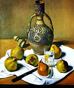 Moroccan Painting Framed Prints - Moroccan Jug with Pears Framed Print by Pg Reproductions