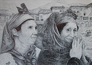 Moroccan Drawings Posters - Moroccan peasant Poster by Fouad Laaniz