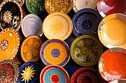 Morocco Metal Prints - Moroccan Pottery on display for sale Metal Print by Ralph Ledergerber