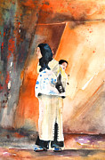 Moroccan Painting Posters - Moroccan Woman Carrying Baby Poster by Miki De Goodaboom
