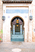 Disney Framed Prints - Morocco Pavilion Doorway Lamps Courtyard Fountain EPCOT Walt Disney World Prints Accented Edges Framed Print by Shawn OBrien
