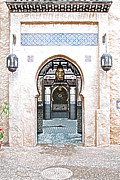Moroccan Digital Art Posters - Morocco Pavilion Doorway Lamps Courtyard Fountain EPCOT Walt Disney World Prints Colored Pencil Poster by Shawn OBrien
