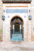 Moroccan Digital Art Posters - Morocco Pavilion Doorway Lamps Courtyard Fountain EPCOT Walt Disney World Prints Ink Outlines Poster by Shawn OBrien
