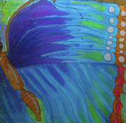 Butterflys Tapestries - Textiles Prints - Morpho Wing Study Print by Kelly     ZumBerge
