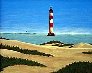 Lighthouse Images Paintings - Morris Island Lighthouse by Frederic Kohli