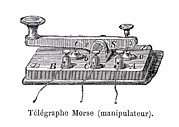 Handset Framed Prints - Morses Telegraph Transmitter Framed Print by Science, Industry & Business Librarynew York Public Library