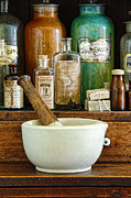 Cabinet Posters - Mortar and Pestle Poster by Jill Battaglia