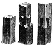 Woodworking Prints - Mortise And Tenon Joint, 19th Century Print by