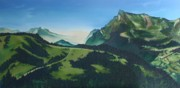 Pallet Knife Painting Prints - Morzine Print by Mira Cooke