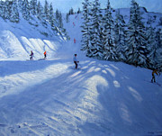 Skiing Paintings - Morzine ski run by Andrew Macara
