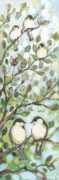 Love Bird Prints - Mos Chickadees Print by Jennifer Lommers