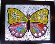 Celestial Glass Art - Mosaic butterfly by Liz Shepard