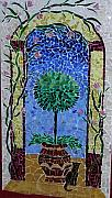 Music Glass Art Originals - Mosaic Cat And Tree by Cristina Cassina
