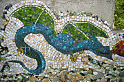 Garden Pyrography Originals - Mosaic Dragon by Christian Griffin