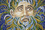 Mosaic Photos - Mosaic Face Fountain Detail by Teresa Mucha