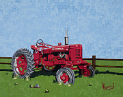 Tractor Mixed Media Framed Prints - Mosaic Farms Framed Print by Kerri Ertman