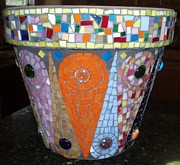 Art Glass Mosaic Glass Art - Mosaic Flower Pot by Liz Shepard