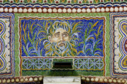 Mosaic Photos - Mosaic Fountain at Getty Villa 1 by Teresa Mucha