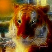 Fractalius Digital Art Framed Prints - Mosaic Glass Tiger Framed Print by Madeline  Allen - SmudgeArt