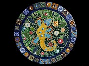 Ceramic Mixed Media - Mosaic Lazy Susan Wall Hanging or Table Top Southwestern Gecko Made with Talavera Tiles by Katherine Sutcliffe