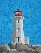 Mosaic Mixed Media Posters - Mosaic Lighthouse Poster by Kerri Ertman