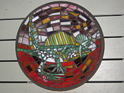 Colour Glass Art Posters - Mosaic Lizard Bowl Poster by Philippa Tisdell