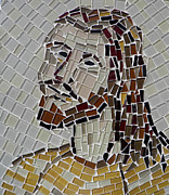 Mosaic Mixed Media - Mosaic of Jesus by Lou Ann Bagnall