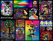 Digital Collage Mixed Media Posters - Mosaic of RetroCollage I Poster by Eric Edelman