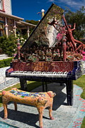 Giant Piano Posters - Mosaic Piano Sculpture Poster by Sally Weigand