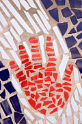 Ceramic Tile Prints - Mosaic Red Hand Print by Carol Leigh