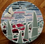Round Ceramics Posters - Mosaic Sailboats Poster by Jamie Frier
