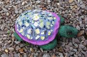 Greens Ceramics Framed Prints - Mosaic Turtle Framed Print by Jamie Frier