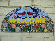 Ceramic Mixed Media - Mosaic Welcome Sign Wall Hanging by Katherine Sutcliffe