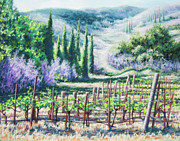 Mountain Valley Pastels - Mosbys Vines on Santa Rita Hills by Denise Horne-Kaplan
