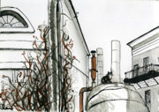 Moscow Drawings - Moscow Backyards. Sadovniki. by Lelia Sorokina