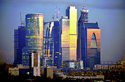 Moscow Prints - Moscow City On Sunrise Print by Vladimir Zakharov