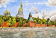 City Buildings Drawings Prints - Moscow River Print by Svetlana Sewell