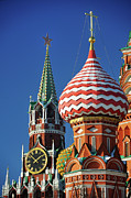 Russia Prints - Moscow, Spasskaya Tower And St. Basil Cathedral Print by Vladimir Zakharov