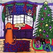 Fiber Art Paintings - Moses and Barkley on Christmas Eve by Linda Marcille