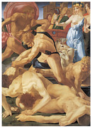 Religious Art Painting Posters - Moses and the Daughters of Jethro Poster by Rosso Fiorentino