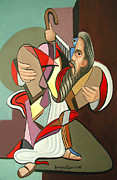 Light Mixed Media Prints - Moses Print by Anthony Falbo