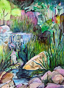 Mystical Landscape Mixed Media Posters - Moses in the Bull Rushes Poster by Mindy Newman