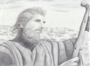 Pencil Drawing Drawings - Moses by Jose Valeriano