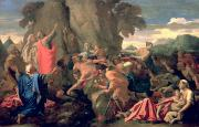 Poussin Metal Prints - Moses Striking Water from the Rock Metal Print by Nicolas  Poussin