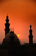 Mosques And Sunset In Cairo, Egypt Print by Glen Allison