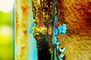 Abstract Glass Art Posters - Moss and Rust II Poster by Toni Hopper