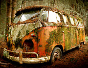 Deluxe Photos - Moss Covered 23 Window Bus by Michael David Sorensen