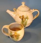 Tea Ceramics - Moss Flower Teapot and Cup by Mara JFF Sparks