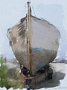 Transportation Mixed Media Prints - Moss Landing Boat Print by Sarah Madsen