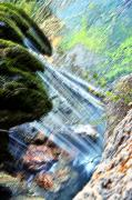 Waterfall Pastels Posters - Moss on Waterfall Poster by Tobin Truslow
